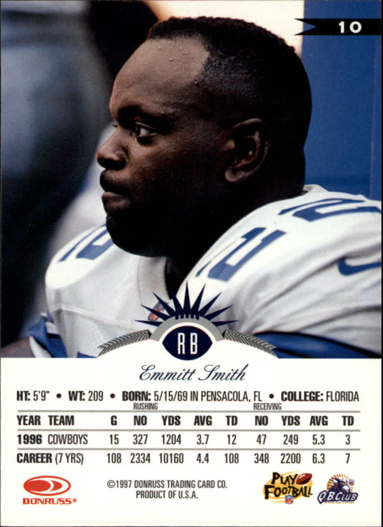 1997 Leaf #10 Emmitt Smith back image
