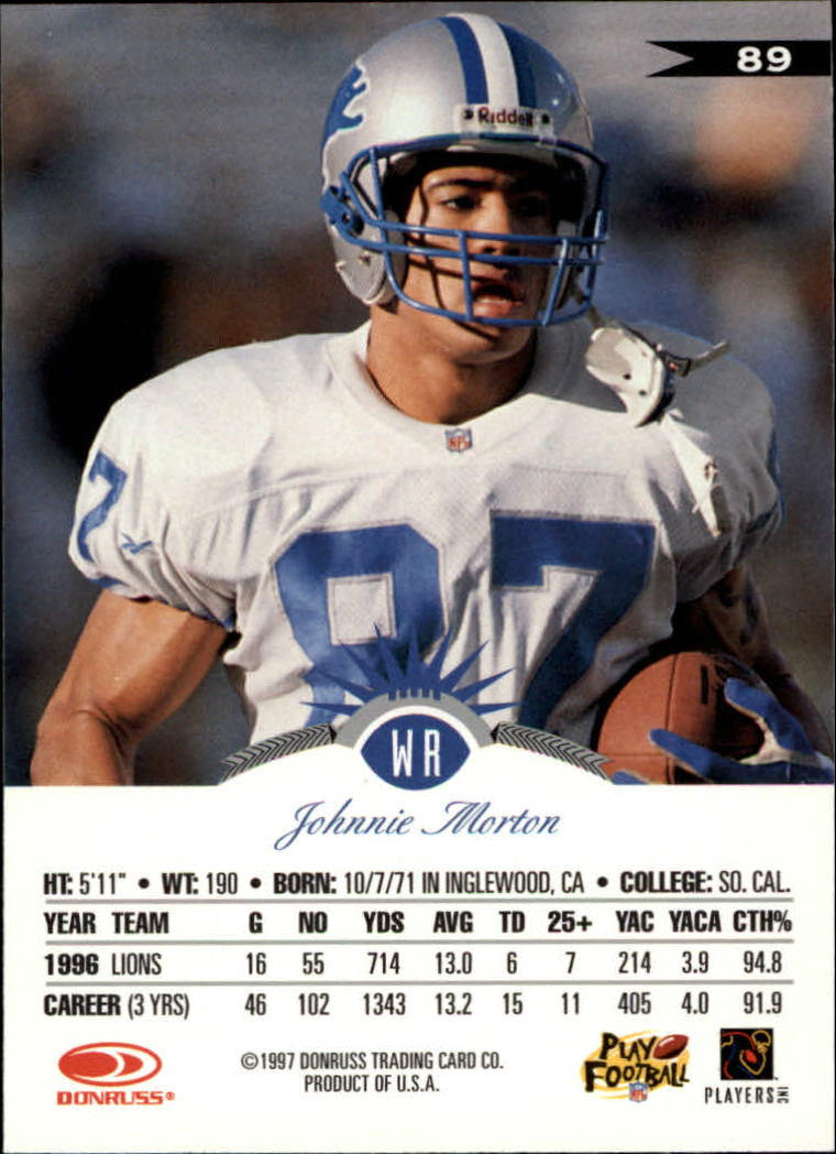 1997 Leaf #89 Johnnie Morton back image