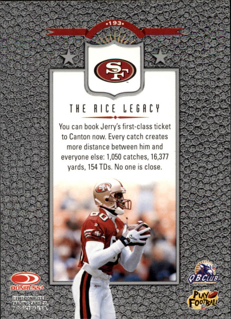 1997 Leaf #193 Jerry Rice L back image