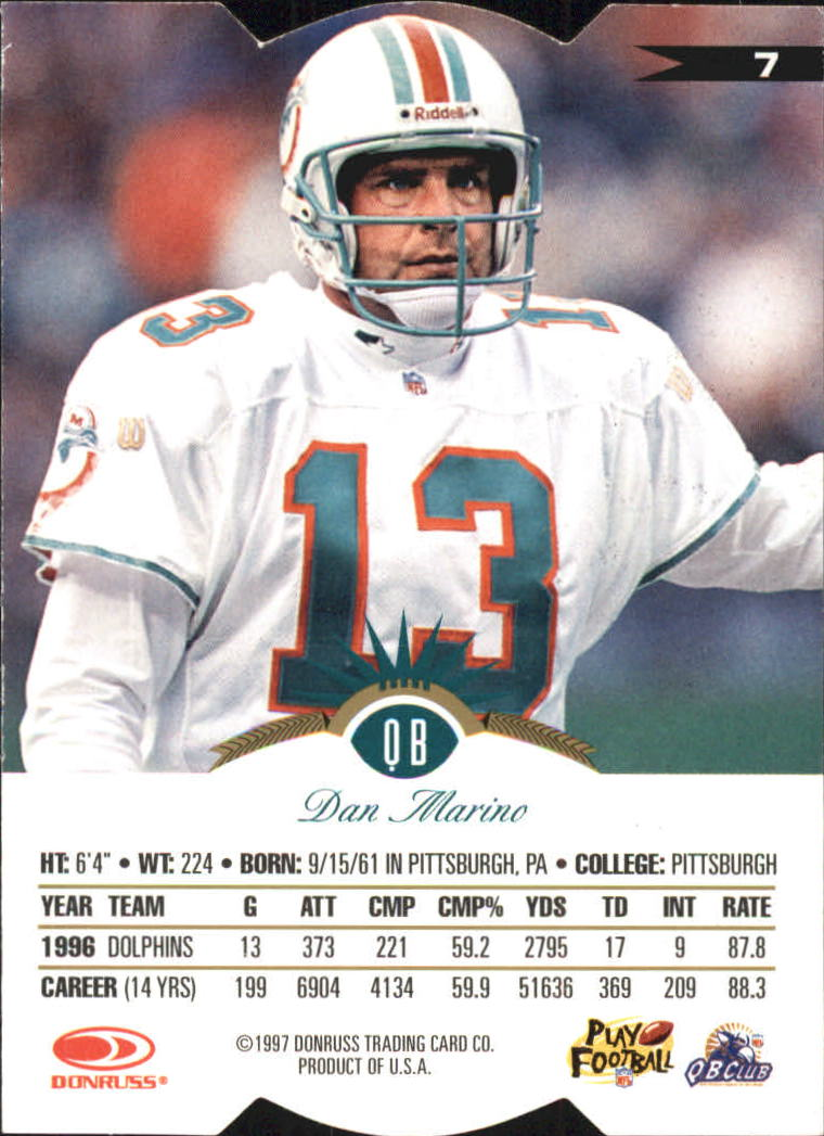 1997 Leaf Fractal Matrix Die-Cuts #7 Dan Marino GX back image