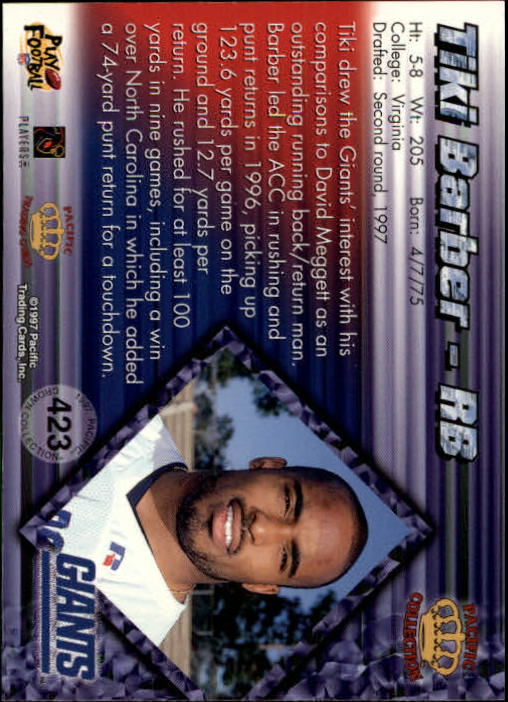 1997 Pacific Copper #423 Tiki Barber back image