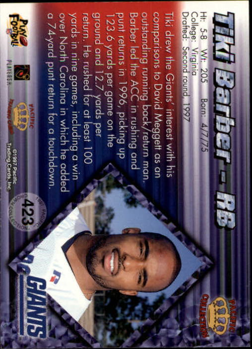 1997 Pacific Silver #423 Tiki Barber back image