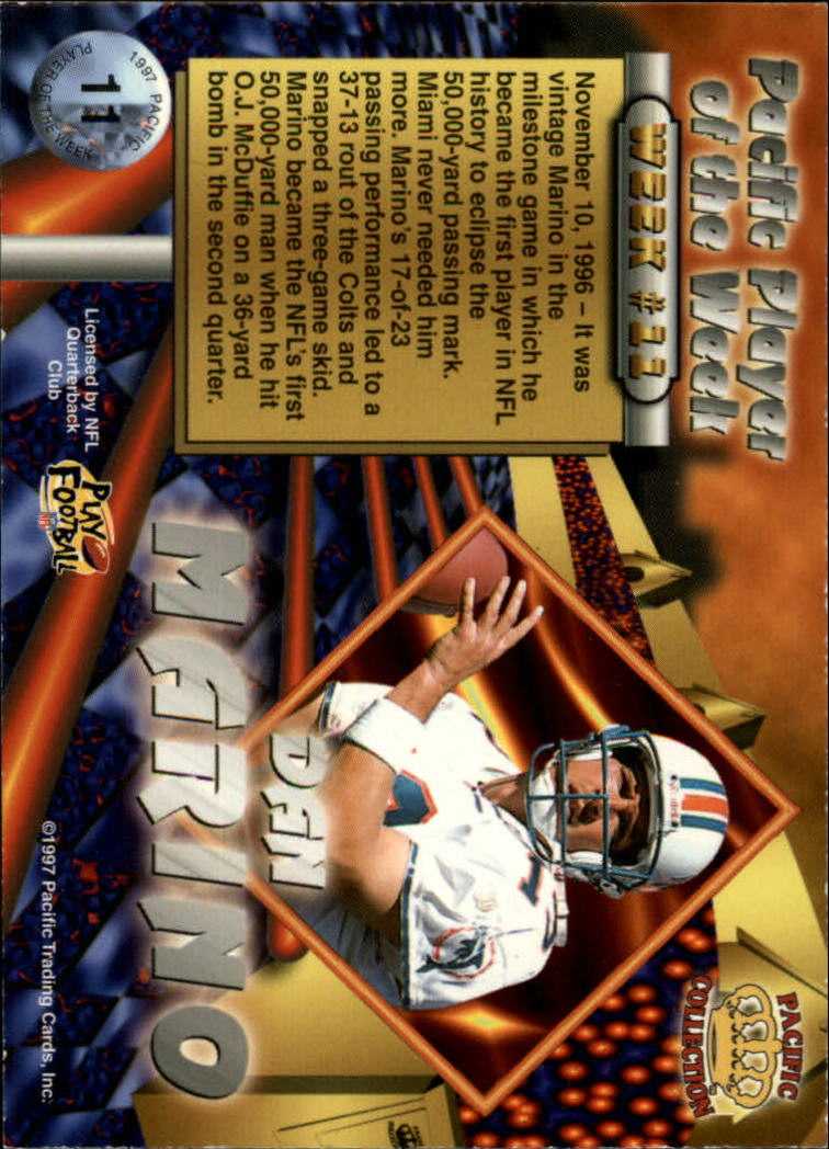 1997 Pacific Dynagon Player of the Week #11 Dan Marino back image
