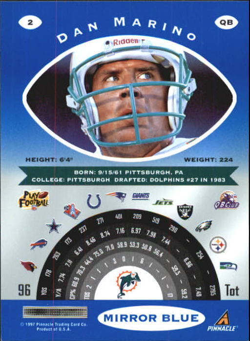 1997 Pinnacle Certified Mirror Blue #2 Dan Marino back image