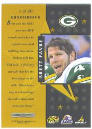1997 Pinnacle Certified Certified Team Gold #1 Brett Favre back image
