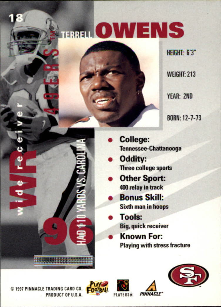 1997 Pinnacle Inside #18 Terrell Owens back image