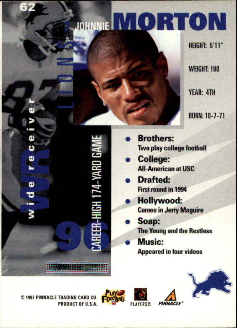1997 Pinnacle Inside #62 Johnnie Morton back image