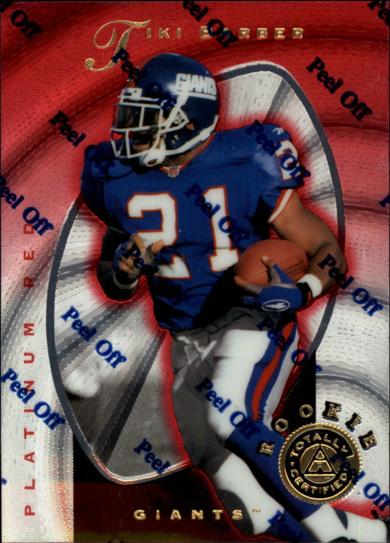 1997 Pinnacle Totally Certified Platinum Red #129 Tiki Barber RC