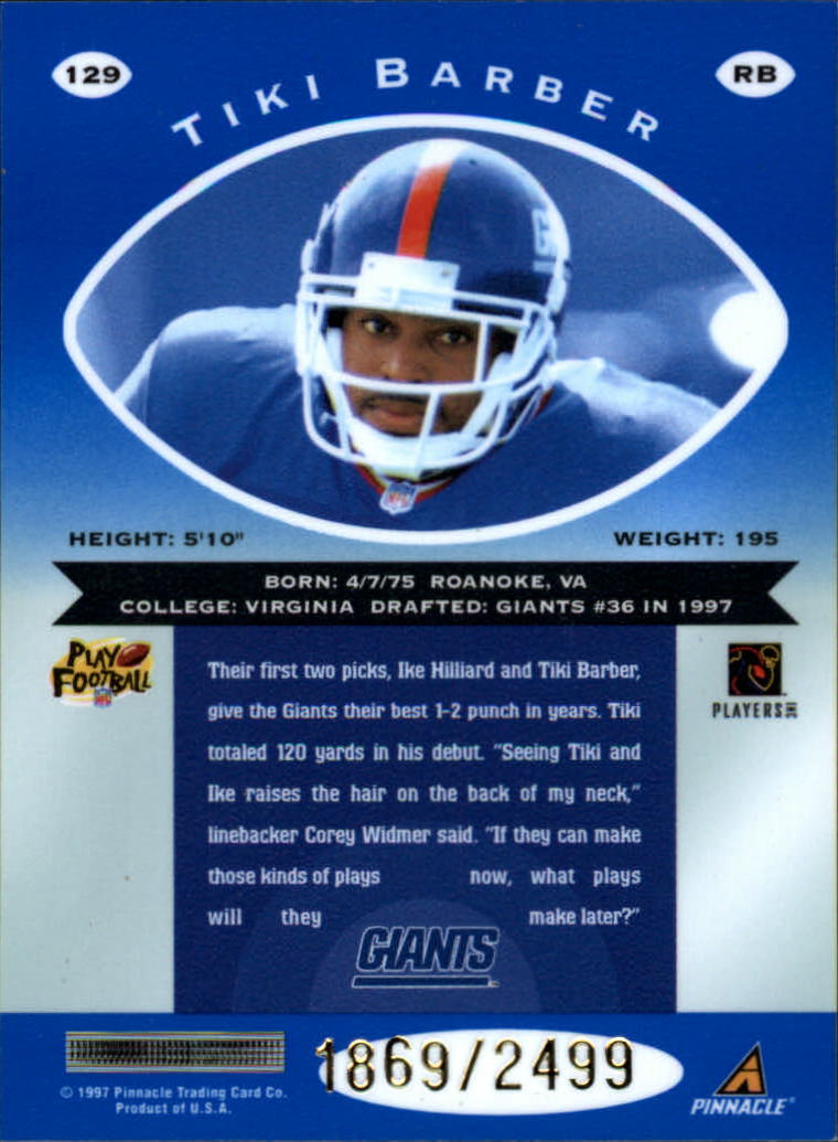 1997 Pinnacle Totally Certified Platinum Blue #129 Tiki Barber back image