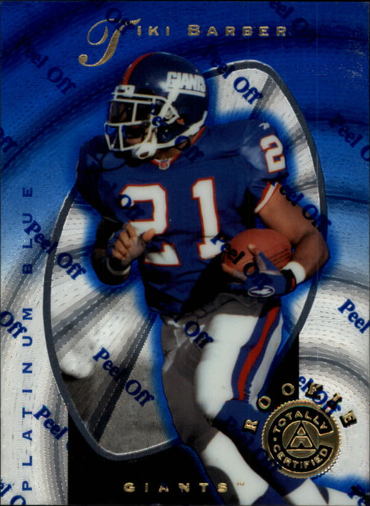 1997 Pinnacle Totally Certified Platinum Blue #129 Tiki Barber front image
