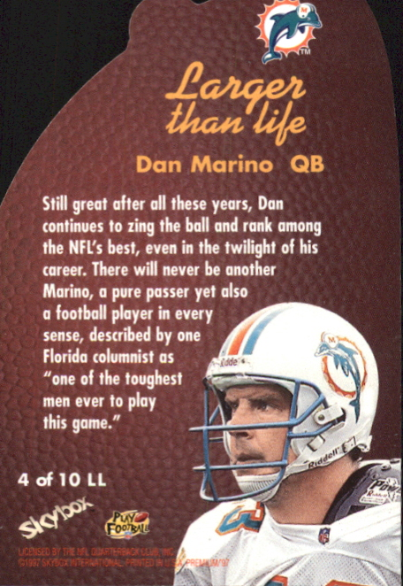 1997 SkyBox Premium Larger Than Life #4 Dan Marino back image