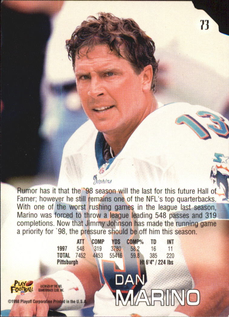 1998 Absolute Retail #73 Dan Marino back image