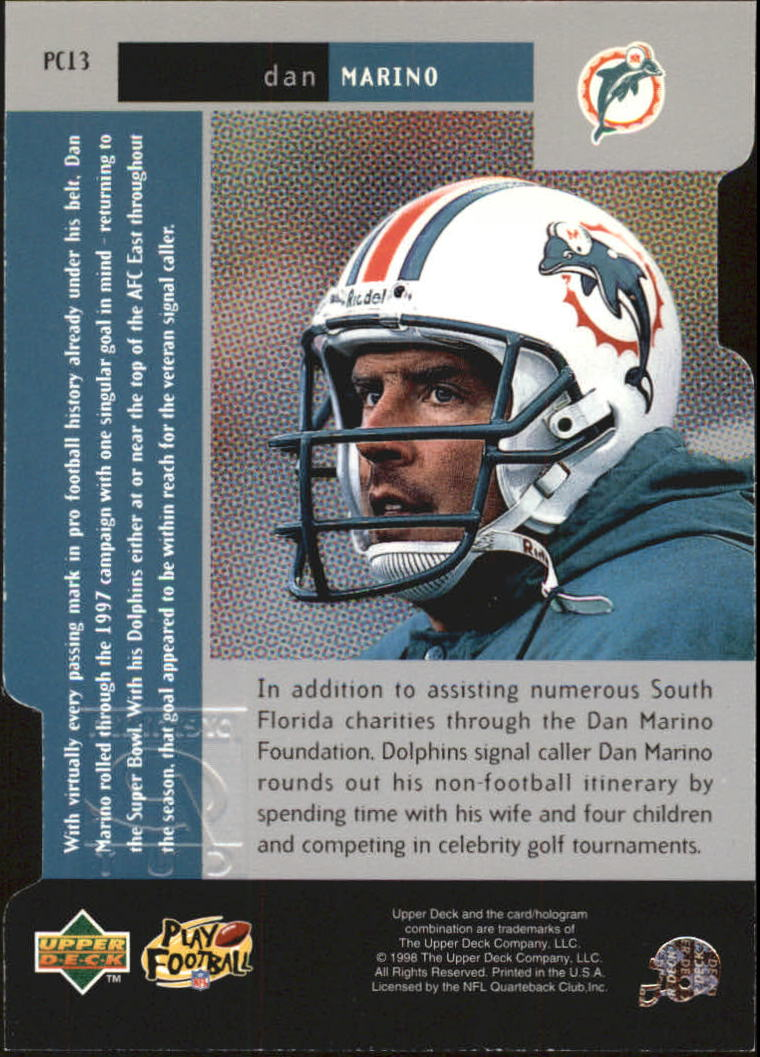 1998 Black Diamond Premium Cut #PC13 Dan Marino back image