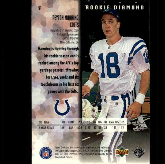 1998 Black Diamond Rookies #91 Peyton Manning RC