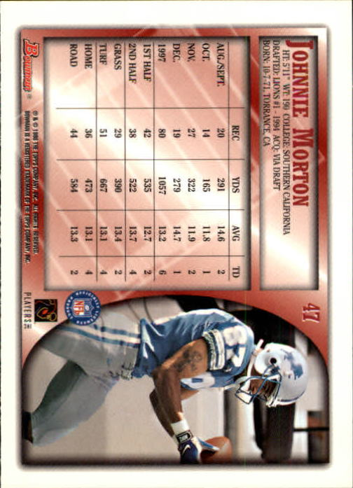 1998 Bowman #47 Johnnie Morton back image