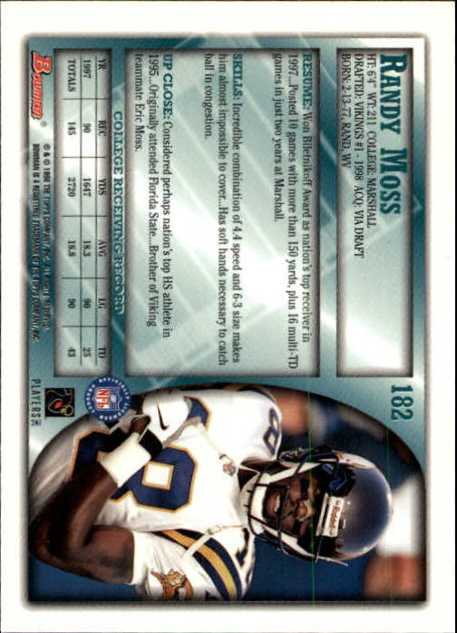1998 Bowman #182 Randy Moss RC back image
