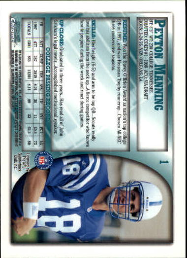 1998 Bowman Chrome #1 Peyton Manning RC back image