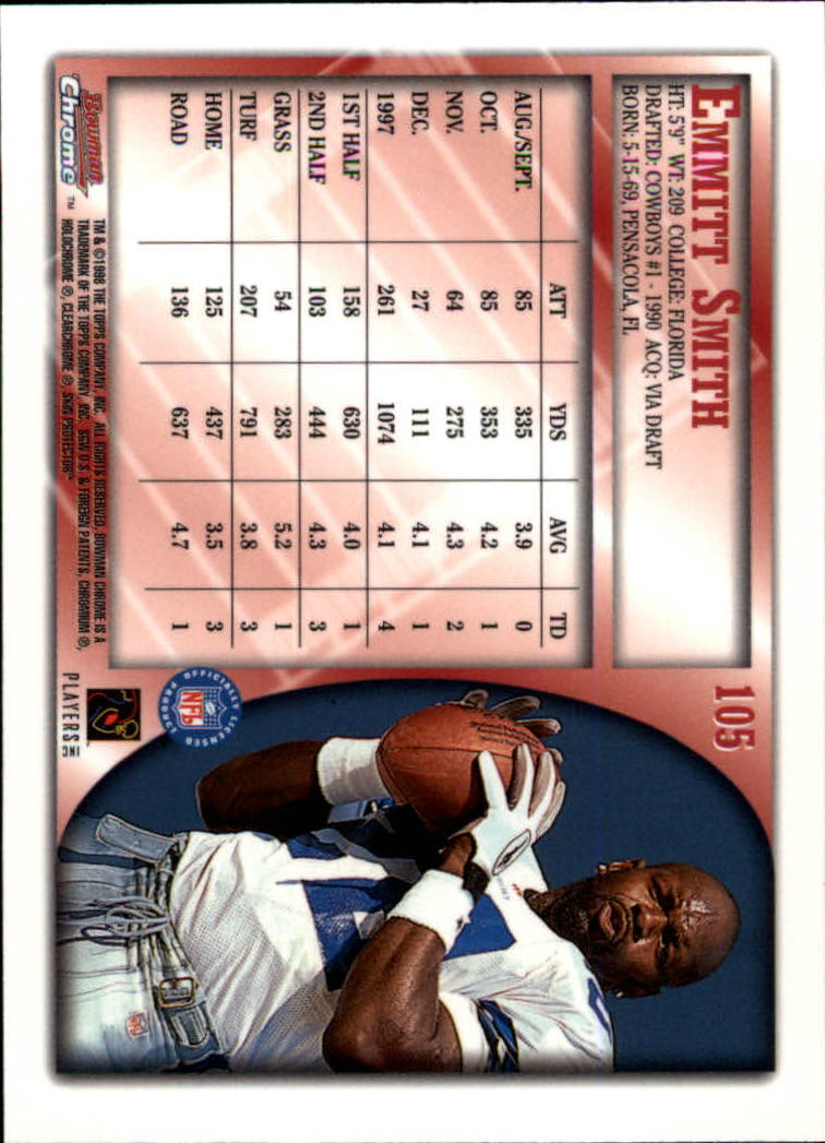1998 Bowman Chrome #105 Emmitt Smith back image