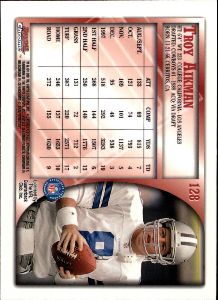 1998 Bowman Chrome #128 Troy Aikman back image