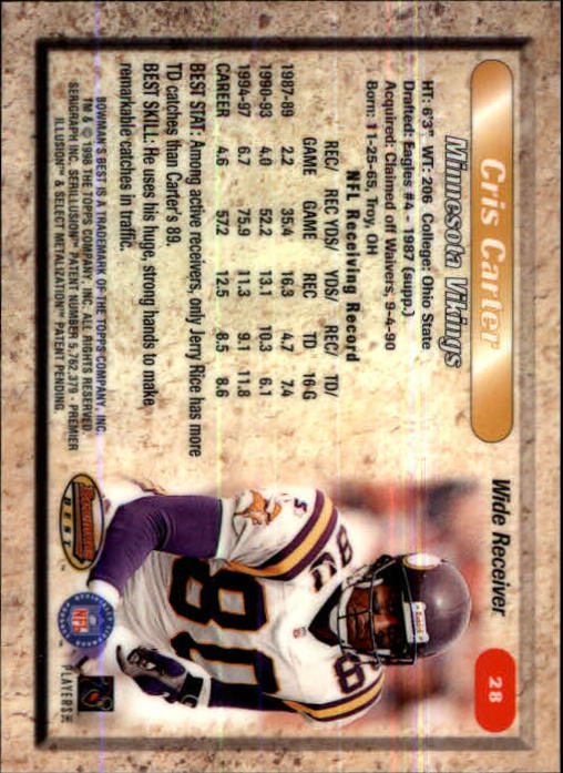 1998 Bowman's Best #28 Cris Carter back image