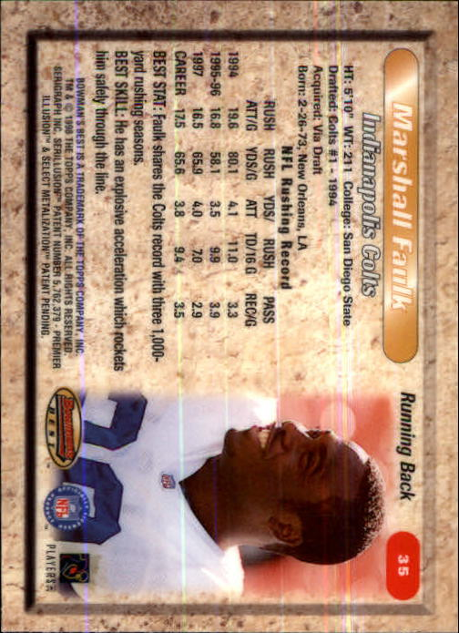 1998 Bowman's Best #35 Marshall Faulk back image