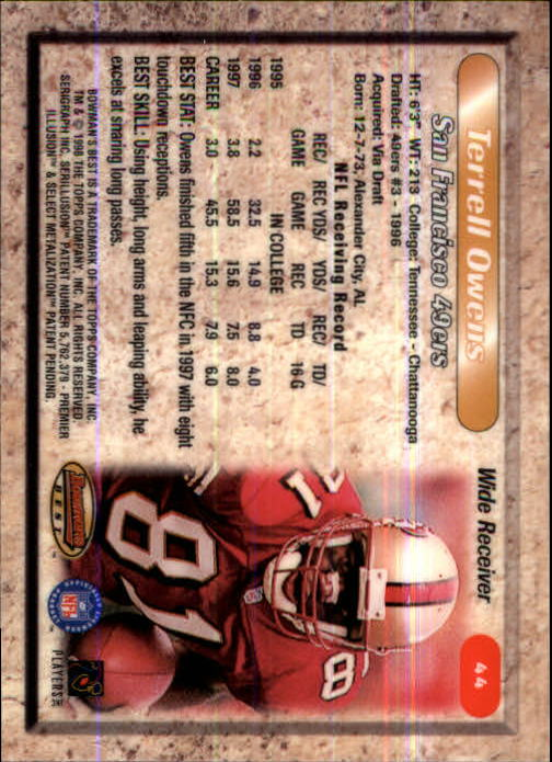 1998 Bowman's Best #44 Terrell Owens back image
