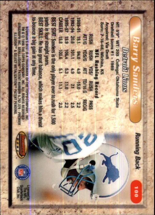 1998 Bowman's Best #100 Barry Sanders back image