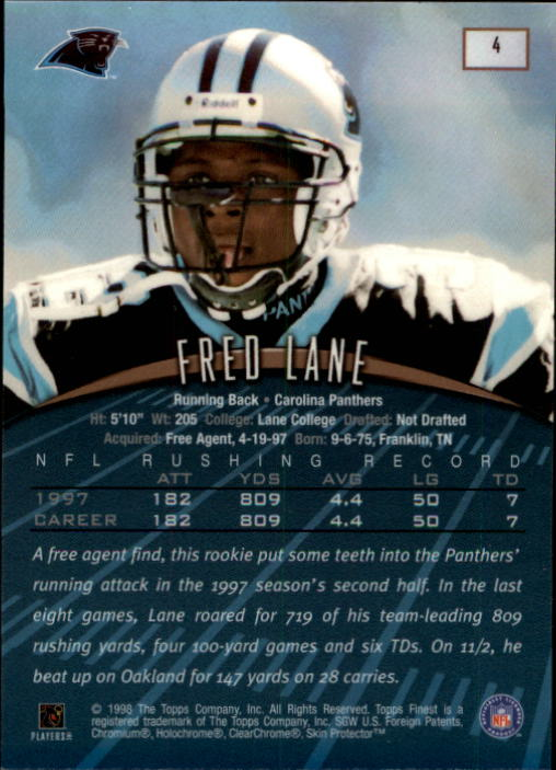 1998 Finest #4 Fred Lane back image