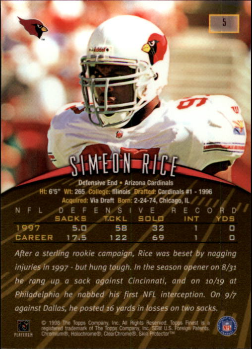 1998 Finest #5 Simeon Rice back image