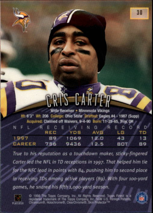 1998 Finest #30 Cris Carter back image