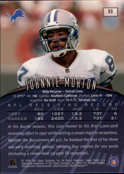 1998 Finest #93 Johnnie Morton back image
