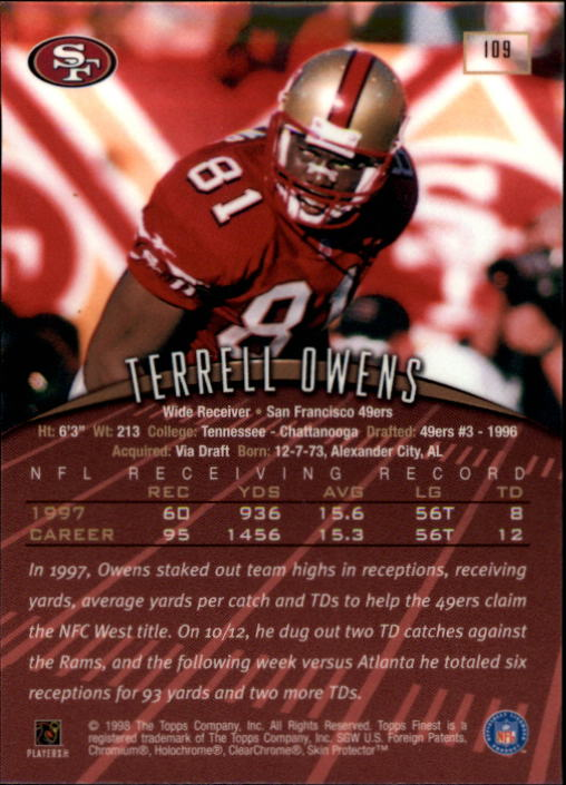 1998 Finest #109 Terrell Owens back image