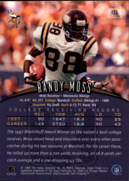 1998 Finest #135 Randy Moss RC back image