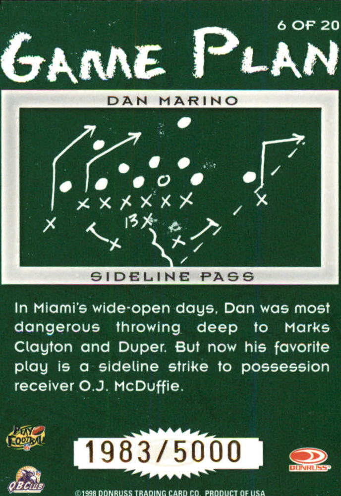 1998 Leaf Rookies and Stars Game Plan #6 Dan Marino back image