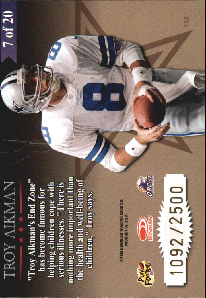 1998 Leaf Rookies and Stars Great American Heroes #7 Troy Aikman back image
