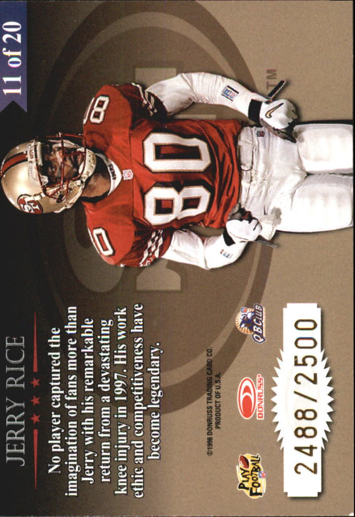 1998 Leaf Rookies and Stars Great American Heroes #11 Jerry Rice back image