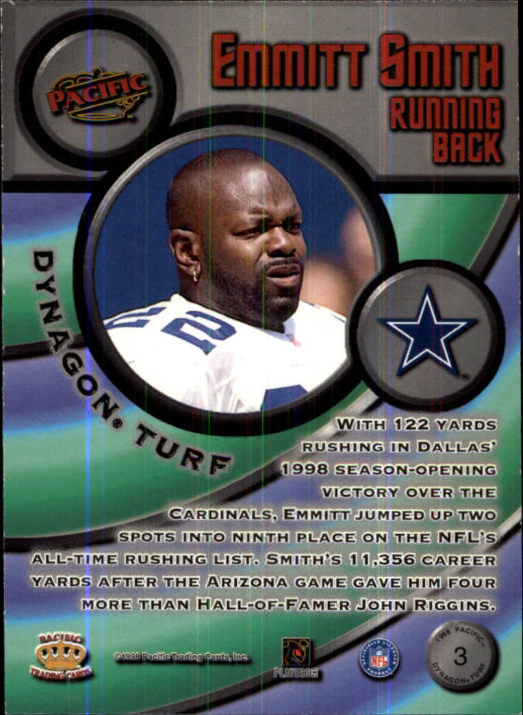 1998 Pacific Dynagon Turf #3 Emmitt Smith back image
