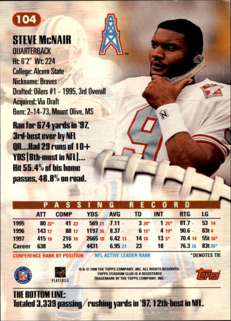 1998 Stadium Club #104 Steve McNair back image