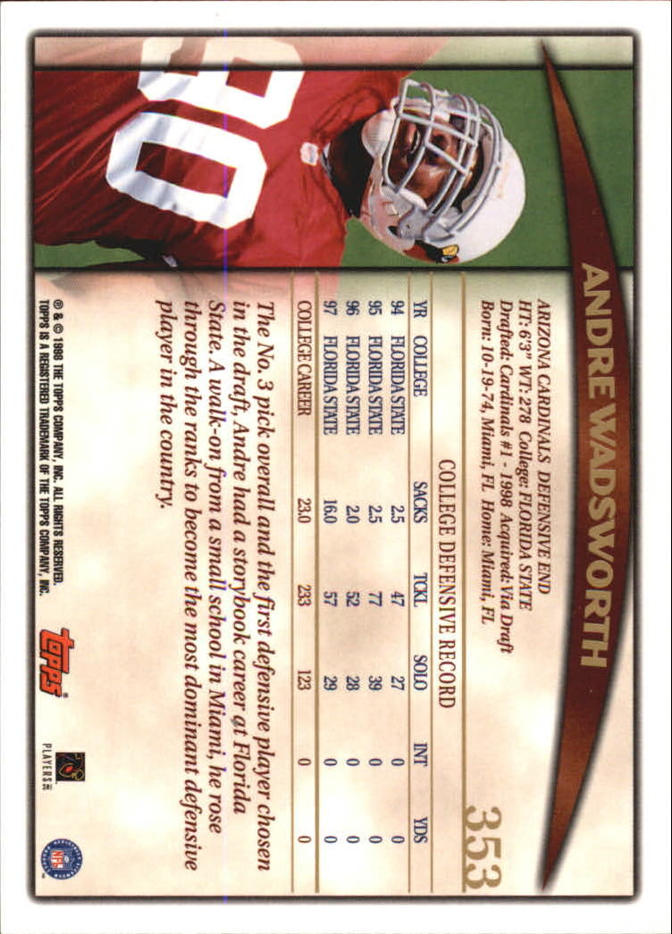1998 Topps #353 Andre Wadsworth RC back image