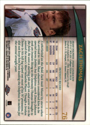 1998 Topps Chrome #76 Zach Thomas back image