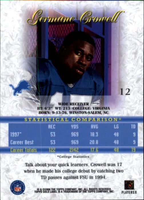 1998 Topps Gold Label Class 1 #12 Germane Crowell RC back image