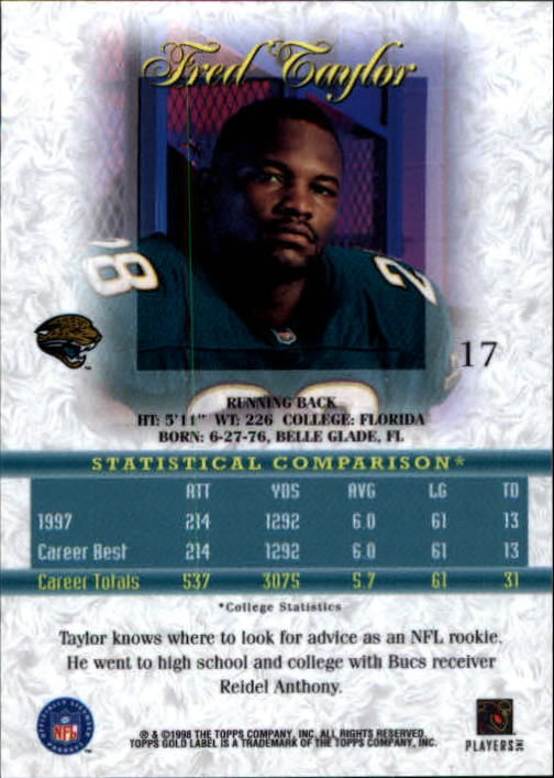1998 Topps Gold Label Class 1 #17 Fred Taylor RC back image