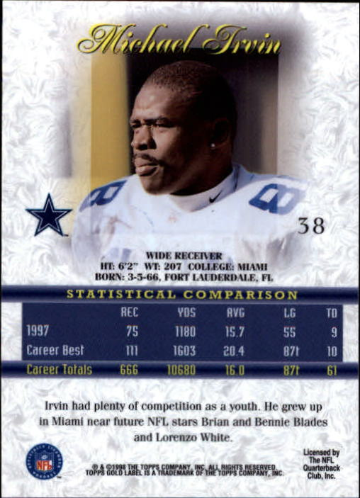 1998 Topps Gold Label Class 1 #38 Michael Irvin back image