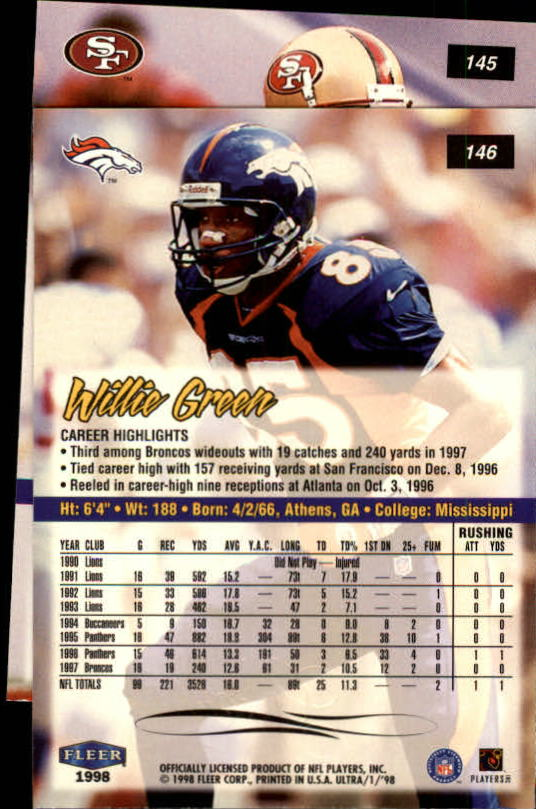 1998 Ultra #145 Terrell Owens back image
