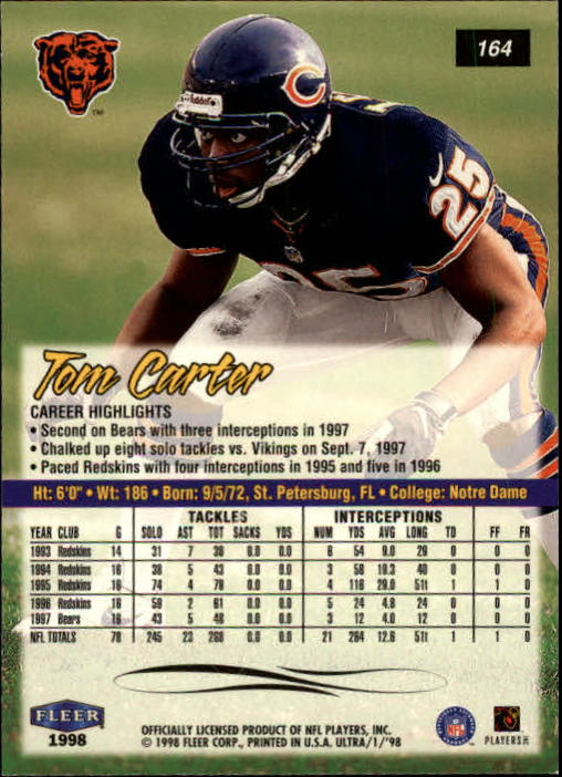 1998 Ultra #164 Tom Carter back image