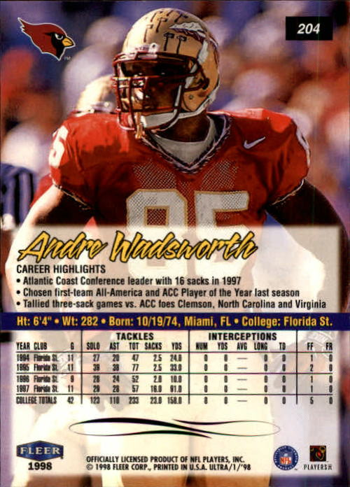1998 Ultra #204 Andre Wadsworth RC back image