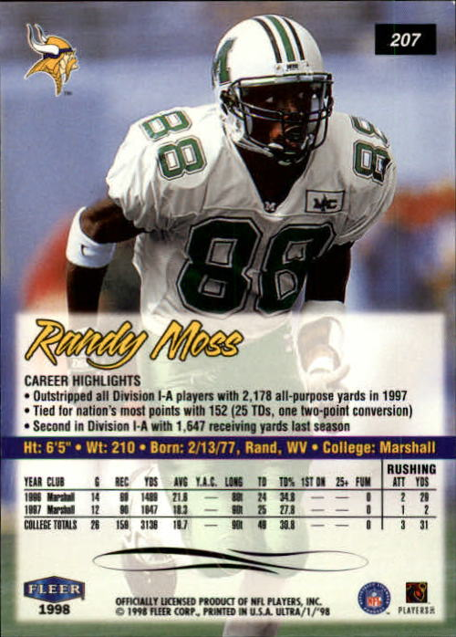1998 Ultra #207 Randy Moss RC back image