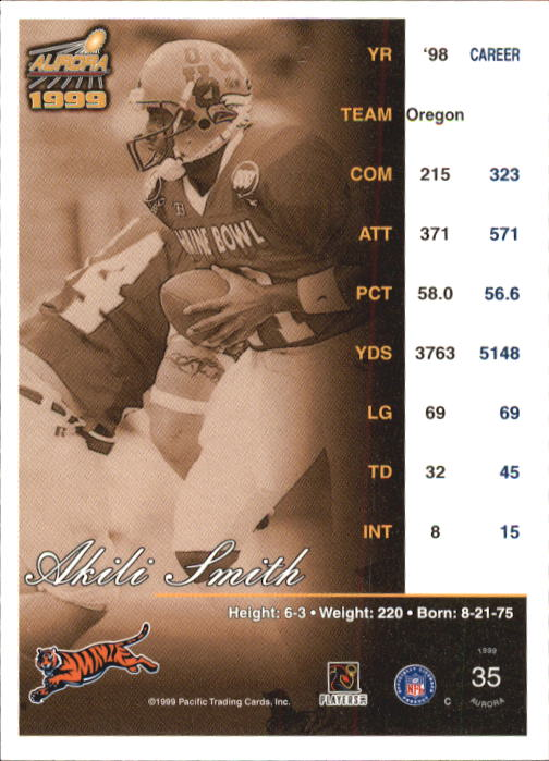 1999 Aurora #35 Akili Smith RC back image