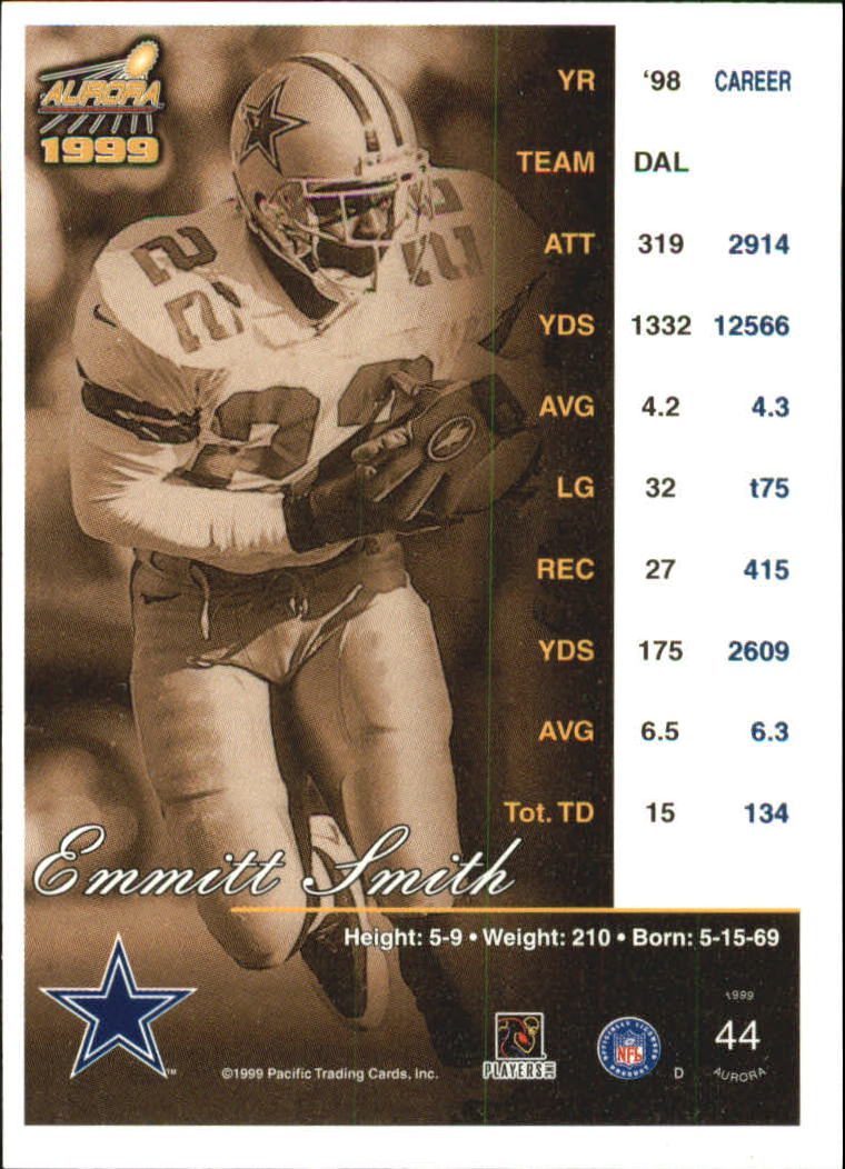 1999 Aurora Pinstripes #44 Emmitt Smith back image