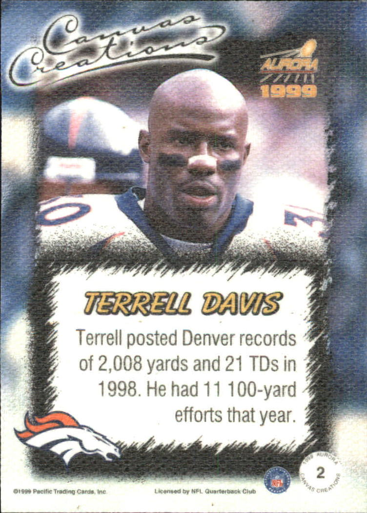 1999 Aurora Canvas Creations #2 Terrell Davis back image